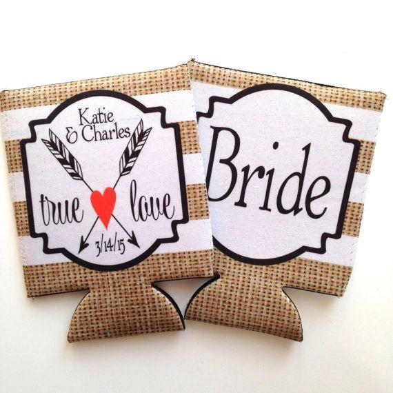 Wedding Burlap True Love Bride and Groom Coozies