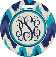 Navy Ikat Monogrammed Luggage Tag