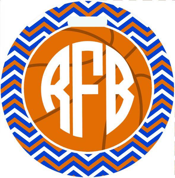 Basketball Chevron Monogrammed Bag Tag