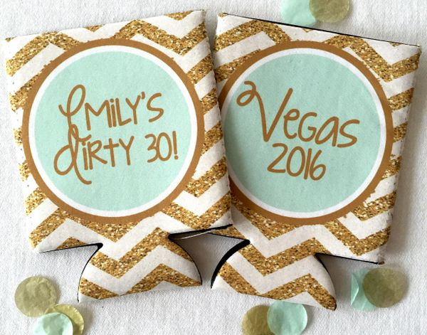 Mint and Gold Glitter Chevron Party Coozies