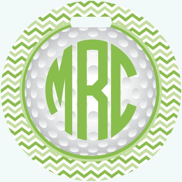 Golf Chevron Monogrammed Bag Tag