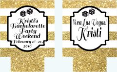 Bachelorette or Birthday Dice Gold Glitter Stripe Huggers