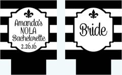 New Orleans Black and White Stripe Fleur de Lis Party Coozies