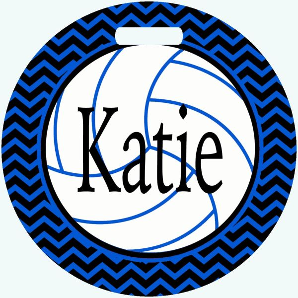 Volleyball Personalized Chevron Bag Tag