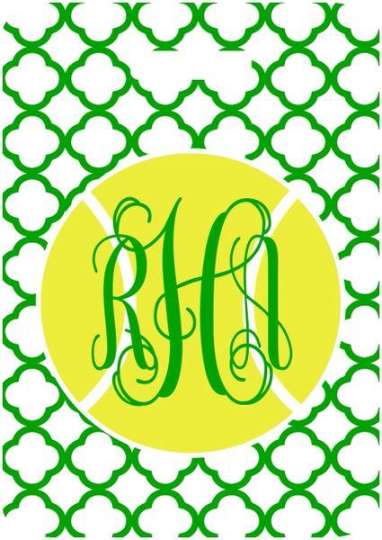 Tennis Green Quatrefoil Bag Tag