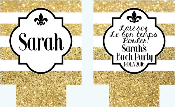 New Orleans Quatrefoil Gold Glitter Stripe Huggers