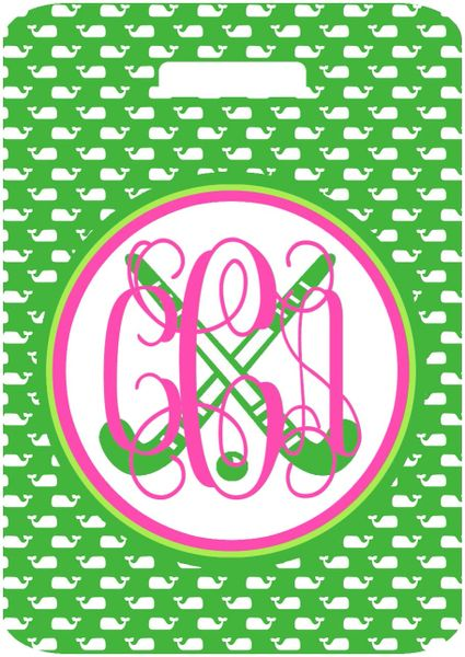 Field Hockey Whales Monogrammed Bag Tag