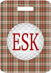 Golf Khaki Plaid Monogrammed Bag Tag