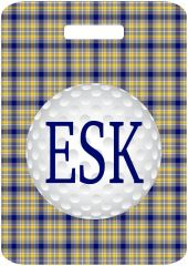 Golf Navy Plaid Bag Tag