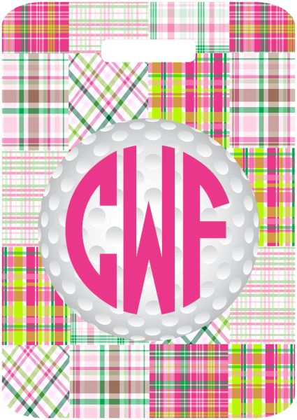 Golf Patchwork Monogrammed Bag Tag