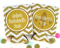 New Orleans Gold Glitter Chevron Huggers