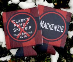 Buffalo Plaid Ski Party Coozies