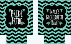 Bride Tribe Mint and Black Chevron Bachelorette Huggers