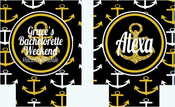 Anchor Black and Gold Nautical Party Hugger