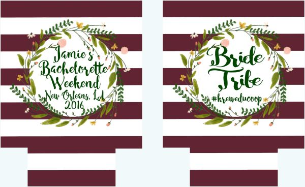 Floral Wreath Burgundy Stripe Party Huggers