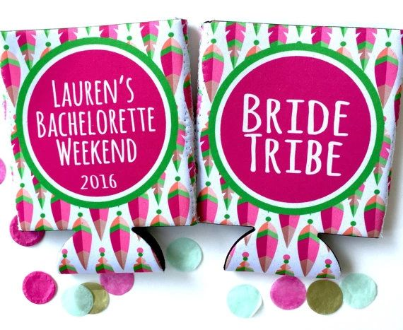 Bride Tribe Tribal Print Birthday or Bachelorette Huggers