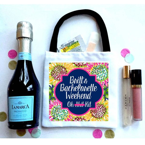 Sunflower Favor Totes, Hangover recovery Bag. Oh Shit kits!