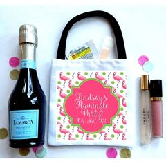 Flamingo Wedding Favor Totes, Hangover recovery Bag. Oh Shit kits!