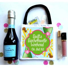 Champagne Wedding Favor Totes, Hangover recovery Bag. Oh Shit kits!