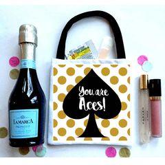Gold Polka Dot Favor Totes, Hangover recovery Bag. Oh Shit kits!