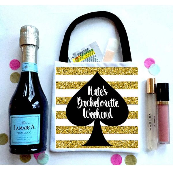 "Gold ""Glitter"" stripe Favor Totes, Hangover recovery Bag. Oh Shit kits!"
