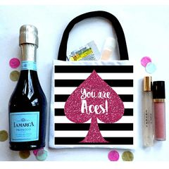 "Black stripe ""Glitter"" Favor Totes, Hangover recovery Bag. Oh Shit kits!"