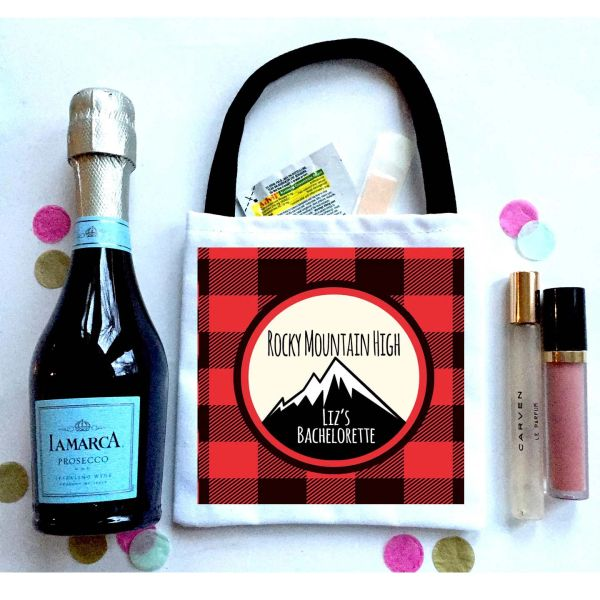 Buffalo Plaid Favor Totes, Hangover recovery Bag. Boho Oh Shit kits!