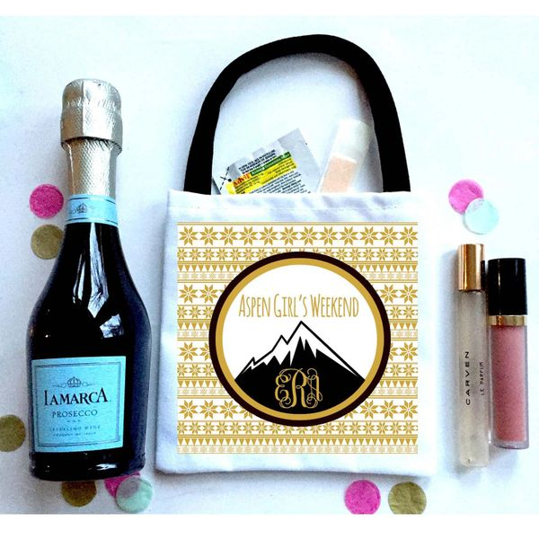 Nordic Mountain Favor Totes, Hangover recovery Bag.Ski Weekend Oh Shit kits!