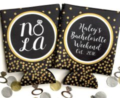 NOLA Ring Black and Gold Polka Dot Glitter Huggers