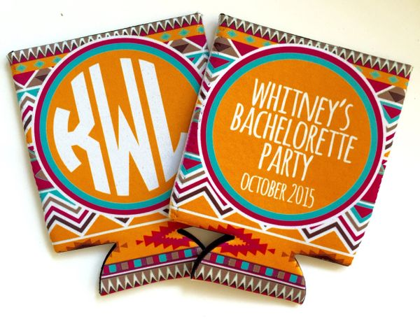 Bride Tribe Orange and Hot Pink Tribal Print Party Huggers