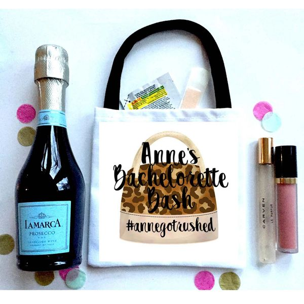 Leopard Bag Favor Totes, Hangover recovery Bag. Oh Shit kits!