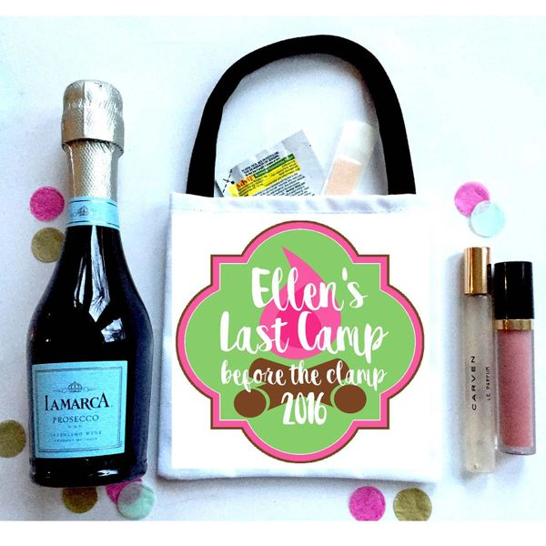 Glamping Favor Bags, Hangover recovery Bag. Camping Oh Shit kits!