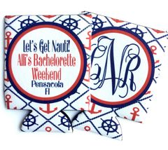 Nautical Red, White, and Blue Party Coozies