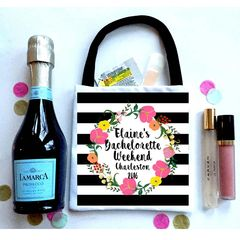 Black Stripe Wreath Favor Bags, Hangover recovery Bag. Bachelorette Oh Shit kits!
