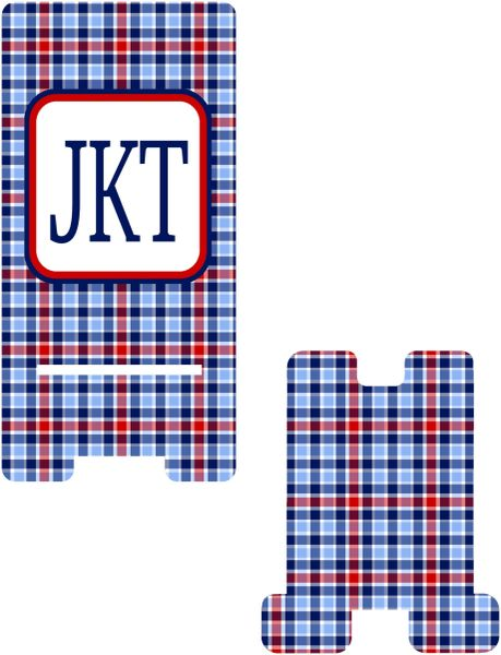 Blue and Red Plaid Cell Phone Stand