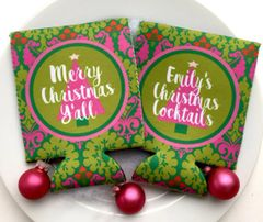 Christmas Party Damask Coozies