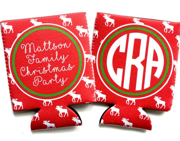 Christmas Party Moose Coozies