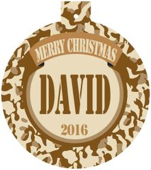 Army Cammo Christmas Ornament