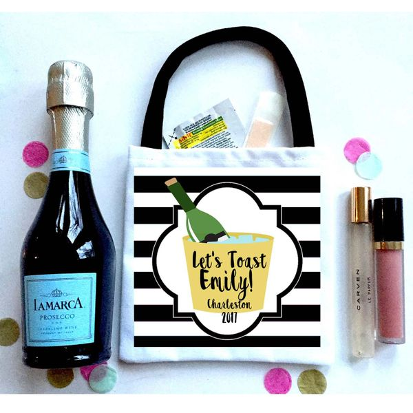 Black Stripe Champagne Favor Bags, Hangover recovery Bag. Bachelorette Oh Shit kits!