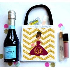 """Glitter"" Chevron Wedding Party Favor, Bridesmaid Hangover recovery Bag."