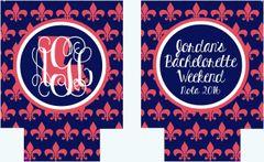 New Orleans Navy Fleur De Lis Coozies