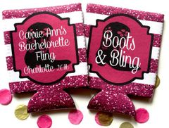 Boots and Bling Hot Pink Stripe Glitter Huggers