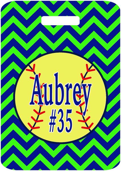 Softball Chevron Bag Tag