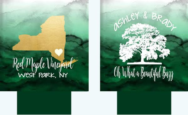 Green Watercolor State Wedding Huggers