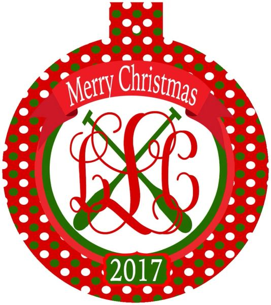 Crew Christmas Monogrammed Ornament