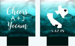 Aqua Watercolor State Wedding Huggers