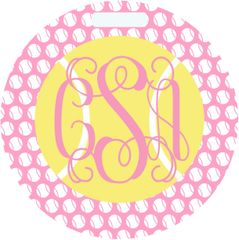 Tennis Pink and White Monogrammed Bag Tag