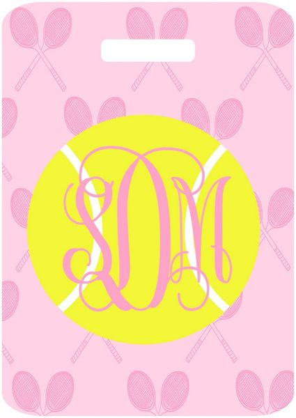 Tennis Pink Racquets Monogrammed Bag Tag