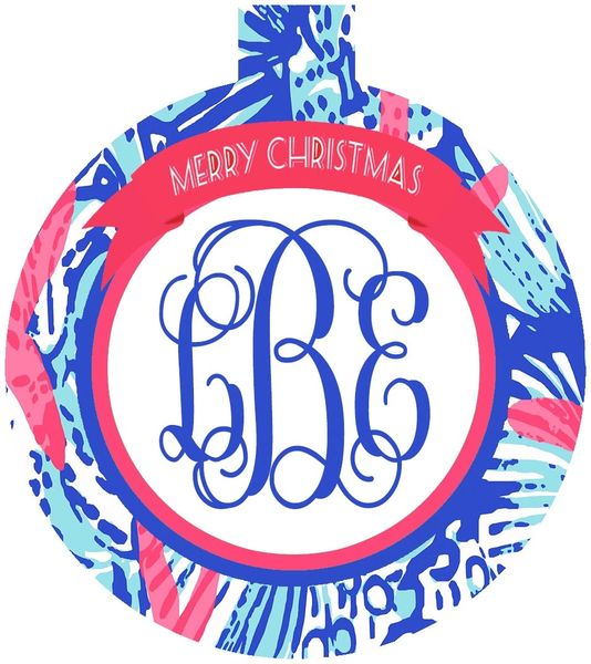 She Sells Lilly Monogrammed Ornament