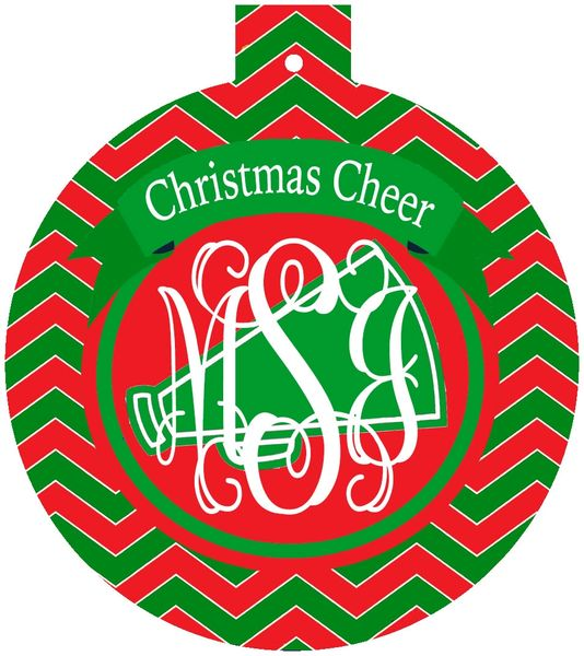 Cheer Christmas Monogrammed Ornament